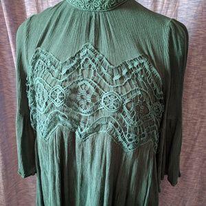 entro Green Lace Boho Tunic Mini Dress